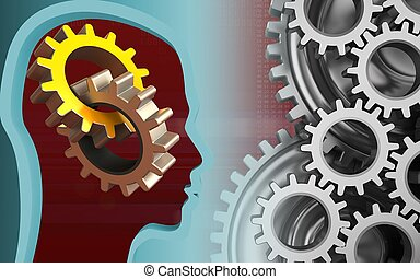 3d head profile - 3d illustration of gears over red...