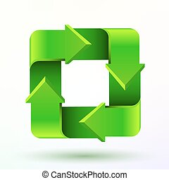 Recycle symbol or sign of conservation green icon isolated...