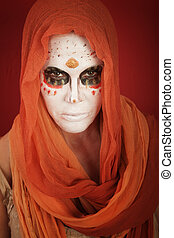 Day of the Dead - A lady with dramatic All Souls Day makeup...