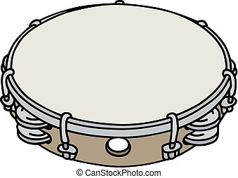 Classic wooden tambourine - Hand drawing of a tambourine