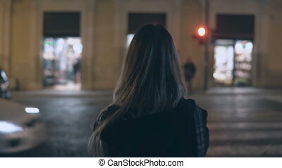 Back view of young brunette woman standing near the traffic...
