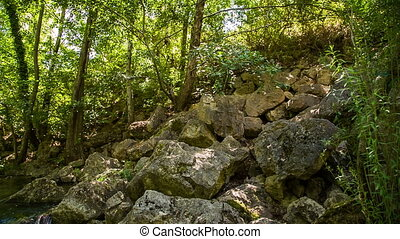 Stone block and mountain river - The chamber moves smoothly...