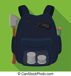 Backpack, single icon in flat style.Backpack, vector symbol...