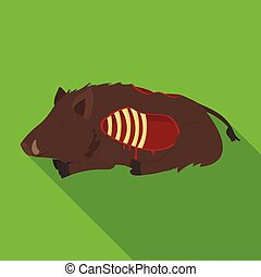 Boar single icon in flat style.Boar, vector symbol stock...
