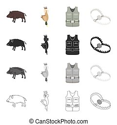 Wild boar, duck game, hunter's vest, trap on the beast. Hunting set collection icons in cartoon black monochrome outline style vector symbol stock illustration web.