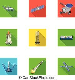 vector, plano, estilo, conjunto, lunokhod, espacio,...