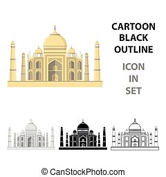 Taj Mahal icon in cartoon style isolated on white...