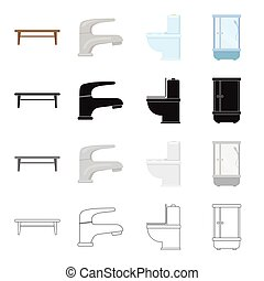 Stylish furniture,coffee table, furnishings in the bathroom, shower, toilet, faucet. Furniture and furnishings set collection icons in cartoon black monochrome outline style vector symbol stock illustration web.