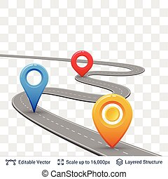 Road with location pins. - Connectable construction element....