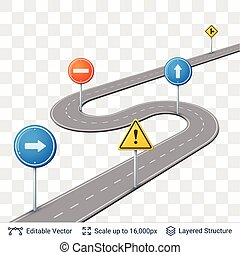 Road with traffic signs. - Map street plan backdrop and...