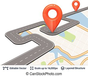 Road with location pins. - Map street plan backdrop and...