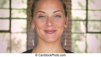 Close up portrait of a smiling happy multi ethnic millennial...
