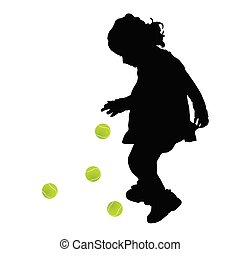 child silhouette with tenis ball illustration - child...