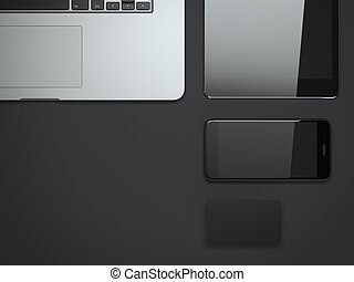 Business mockup with laptop and smartphone. 3d rendering -...