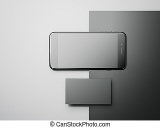 Business mockup with modern smartphone. 3d rendering -...