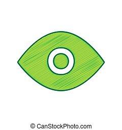 Eye sign illustration. Vector. Lemon scribble icon on white...