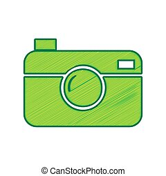 Digital photo camera sign. Vector. Lemon scribble icon on...