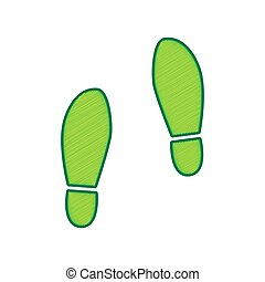 Imprint soles shoes sign. Vector. Lemon scribble icon on...