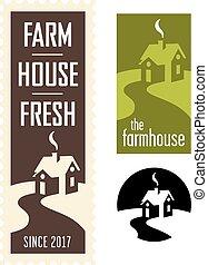 Set of Farmhouse Vector Logos - Set of four farm and barn...