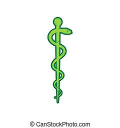 Symbol of the Medicine. Vector. Lemon scribble icon on white...