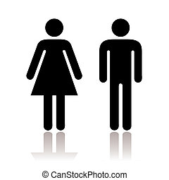 Toilet Symbol - Black and white simple toilet symbols with...