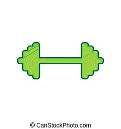 Dumbbell weights sign. Vector. Lemon scribble icon on white...