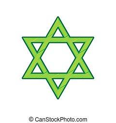 Shield Magen David Star. Symbol of Israel. Vector. Lemon...