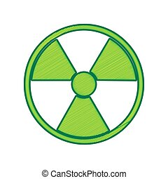 Radiation Round sign. Vector. Lemon scribble icon on white...