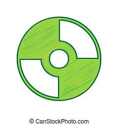 Vector CD or DVD sign. Vector. Lemon scribble icon on white...