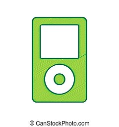 Portable music device. Vector. Lemon scribble icon on white...
