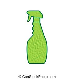 Plastic bottle for cleaning. Vector. Lemon scribble icon on...