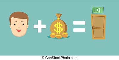 money helps to find a way out. Stock flat vector...
