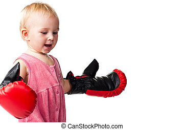 Beautiful baby in boxing gloves punching - Beautiful babyl...
