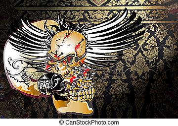 skull and dark danger backgrounds pattern thai
