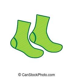 Socks sign. Vector. Lemon scribble icon on white background....