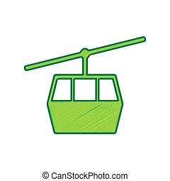 Funicular, Cable car sign. Vector. Lemon scribble icon on...