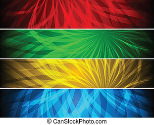 Simple vibrant banners - Set of bright abstract banners
