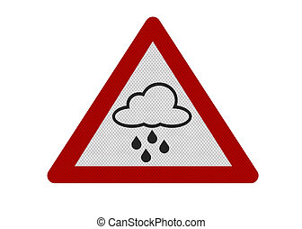 Photo realistic 'rain warning' sign, isolated on white