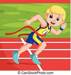 runner man winning a race - illustration of runner man...