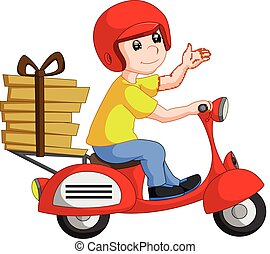 Funny pizza delivery boy riding red motor bike -...