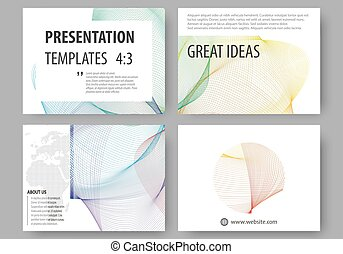 Set of business templates for presentation slides. Easy editable layouts, vector illustration. Colorful design background with abstract waves.