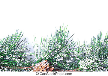 snow covered pinecones - Christmas border design with snow...