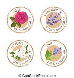 Set of essential oils labels. Rose, Sage, Lavender, jasmine...