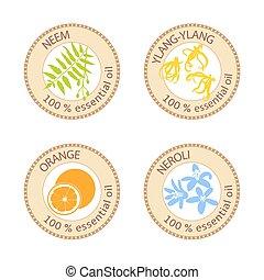 Set of flat essential oil labels. 100 percent. Ylang-ylang,...