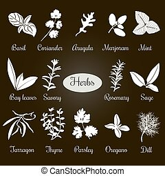 Big set of simple flat culinary herbs. White Silhouettes -...