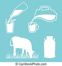 Natural milk symbol or logo. Cow, Milk can, Milk pouring...