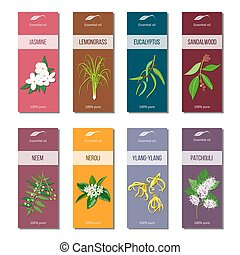 Essential oil tags collection. Sandalwood, patchouli,...