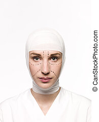 Woman prepared for a Plastic Surgery