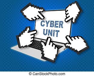 Cyber Unit concept - 3D illustration of 'CYBER UNIT' script...