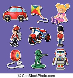 Sticker design for many toys illustration